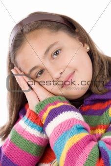 Adorable girl with woollen jacket