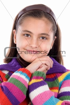 Adorable girl with woollen jacket