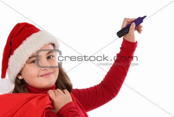 Beautiful girl with hat of christmas writing