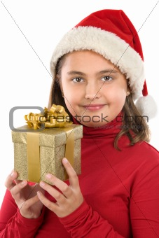Beautiful girl with present of christmas