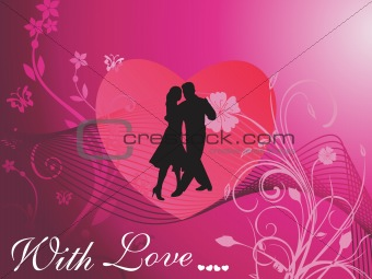couple dancing in side heart and floral background