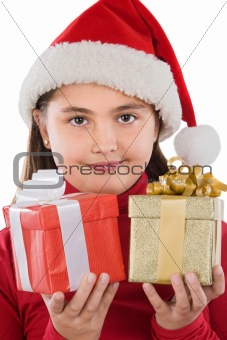 Beautiful girl with two presents of christmas