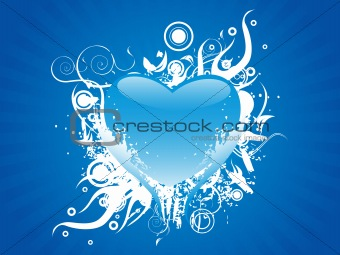 flaming heart isolated on blue