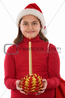 Beautiful girl with candle of christmas