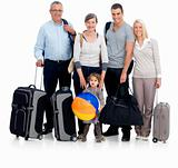 Portrait of a happy family prepared to go traveling