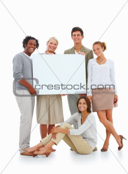 Isolated group of happy casual people holding copyspace