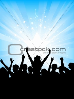 Crowd on starburst background