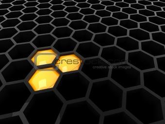 3d black tech honeycomb