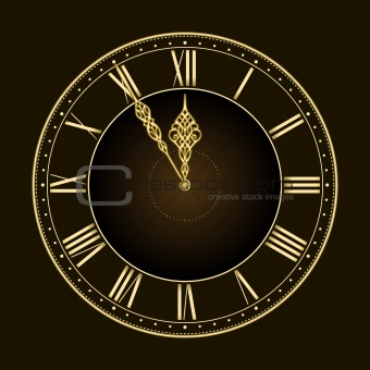Five to twelve! Stylish golden vector clock
