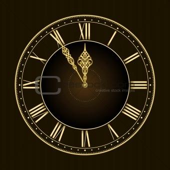 Five to twelve! Stylish golden vector clock