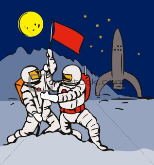 Astronaut planting a flag on the lunar base
