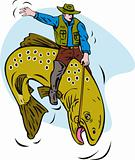 Fly fisherman riding a bucking trout