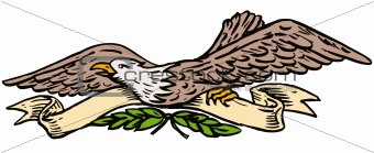 American bald eagle with scroll and olive leaves