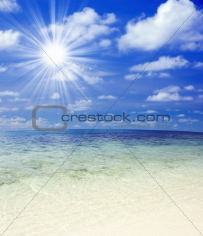 Beautiful Tropical beach with sunlight