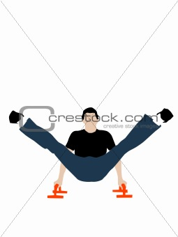 fitnessman posing help of push-ups