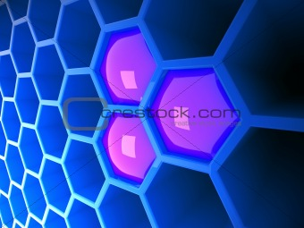 3d blue tech honeycomb