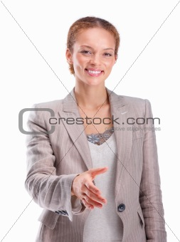 Young business woman offering hand for handshake
