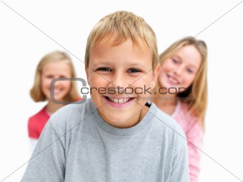 Young children smiling happily