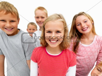 Distorted view of Young kids smiling