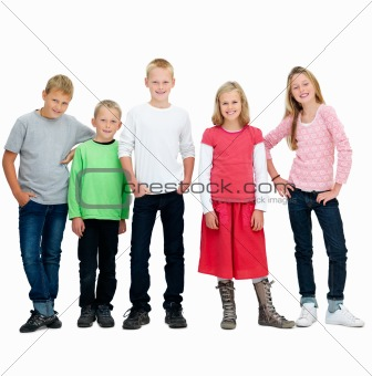 Group of young friends standing isolated