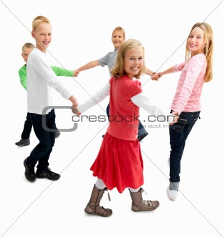 Happy children walking in circle on white