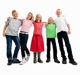 Happy confident kids standing isolated