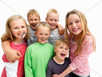 Portrait of young children smiling happily