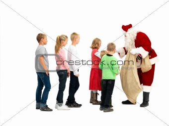 Santa Claus giving gifts to kids isolated on white