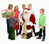  Santa Claus Handing out presents to kids isolated