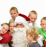 Portrait of  Santa Claus with kids isolated 