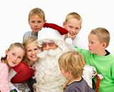 Closeup of  Santa Claus with children isolated