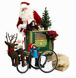 Santa Claus standing behind a Christmas cart isolated