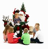 Santa Claus Reading his list with kids isolated