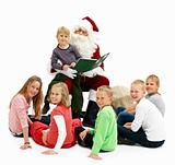 Santa Claus and children looking at you
