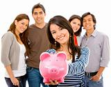 Group of people with a piggy bank