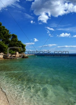 Beach on Adriatica sea, Brela, Croatia