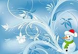 Floral background with snowman