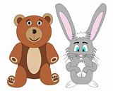 Cute Teddy Bear and Rabbit Vector