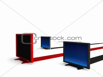 lcd televisions on stripes