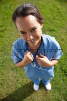 Medical - Above view of happy young nurse