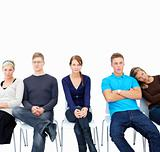 Individuality - Modern students sitting on stools