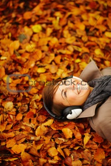 Woman enjoying listening to music