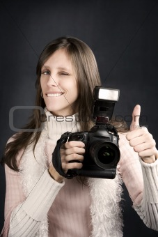 Thumbs Up From a Pretty Photographer
