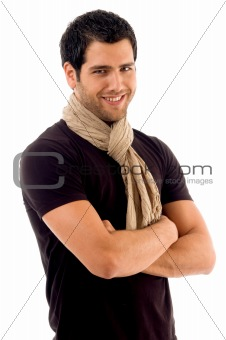 handsome male with folded hands