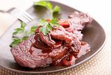 beef steak in redwine