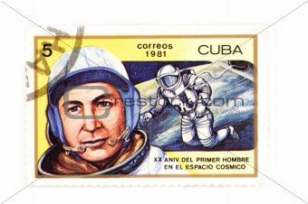 Cuban postage stamp close up