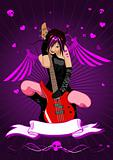 Vector girl with guitar and banner