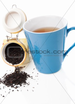 Black tea leaves and drink