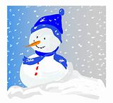 Snowman in a Snowstorm - vector