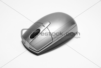 Modern Silver Computer Mouse on White Background